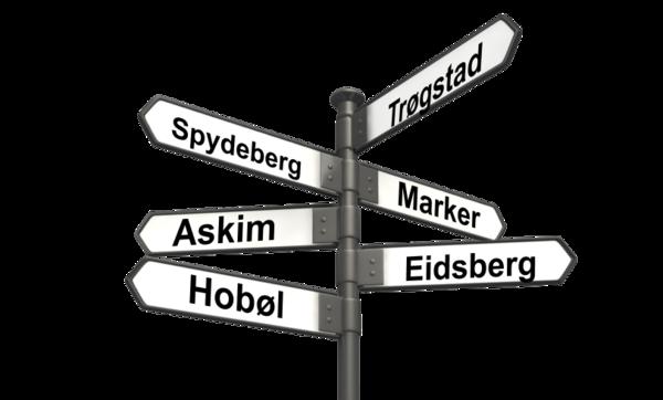 Vegskilt som illustrerer retningsvalget i Trøgstad