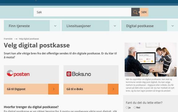 Skermdump frå nettstaden norge.no og val av digital postkasse