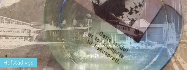 Bilete av Hafstad vgs, saman med glaskunst/utsmykning av Lise Stang Lund