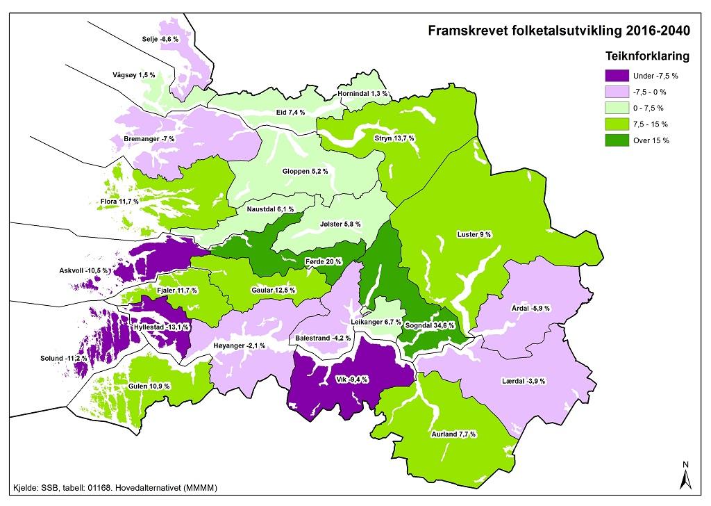 sogn og fjordane kart Slik vil folketalet bli i 2040   Sogn og Fjordane fylkeskommune