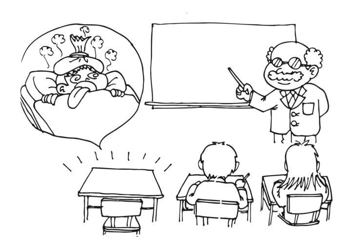 tegneserierute med lærer som underviser mens en pult står tom