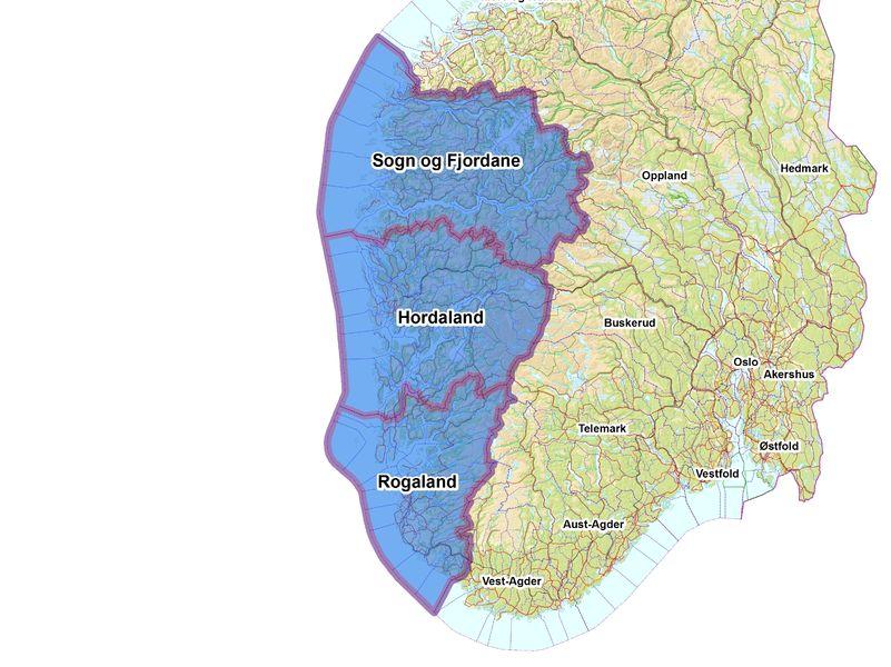 Kart over Sør-Noreg med Rogaland, Hordaland og Sogn og Fjordane markert