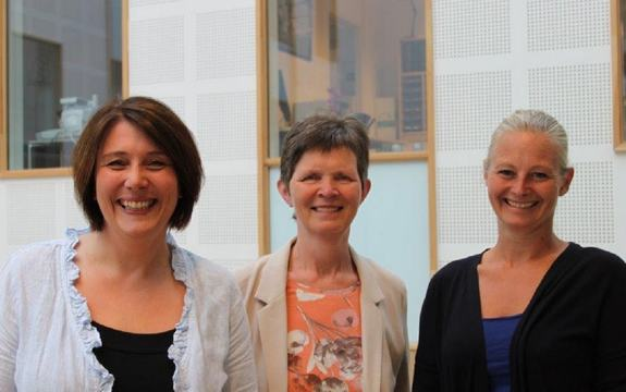 Tre kvinner i eit rom