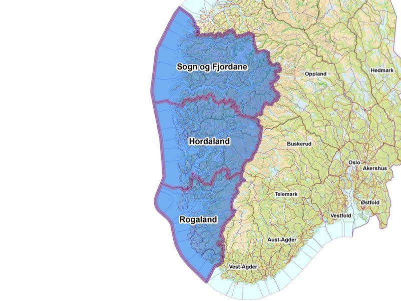 Kart over vestlandet