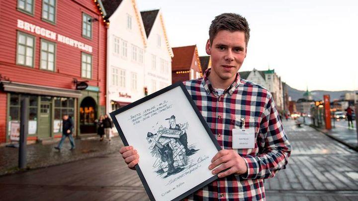 Emil Skrede - Årets lærling i tømrarfaget 2016  Foto: Marit Hommedal Fjordabladet
