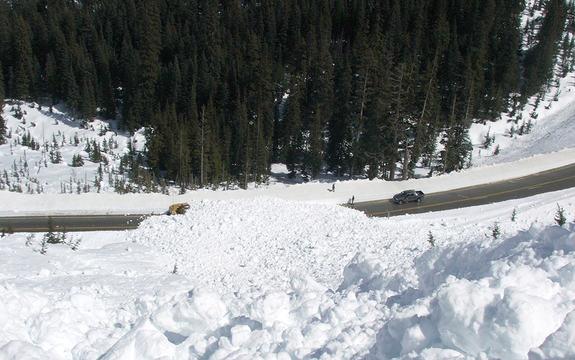Foto som syner eit snøskred som sperrar ein veg. Biletet er teke frå lufta. På den andre sida av vegen er det tett skot. Det står ein bil og to personar på den eine sida av raset.