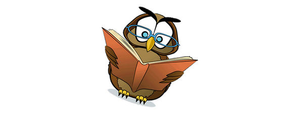 Illustrasjon av ei brun ugle med ei blå bok.