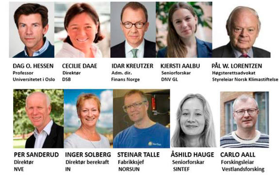 Biletcollage med ti av føredragshaldarane på den nasjonale klimakonferansen i Sogndal i august 2017. Det er portrettbilete med namn og tittel under.