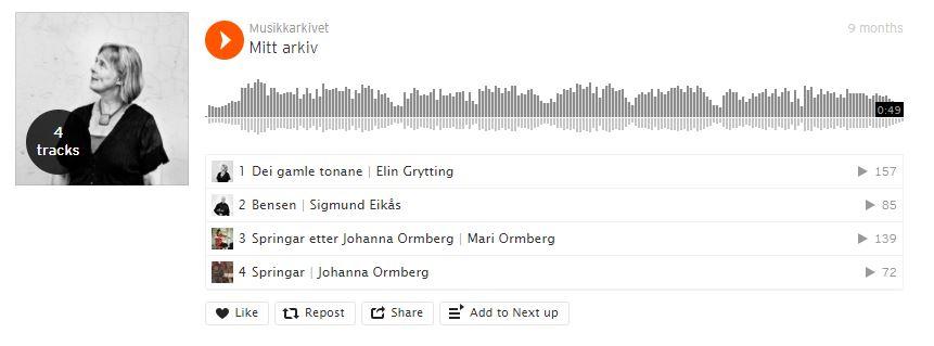 Skjermbilete frå SoundCloud
