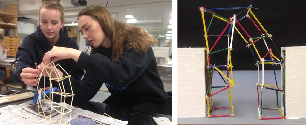 På bilete ser vi elevar frå klasse 3sfa som arbeider med 3D-modellar av portal