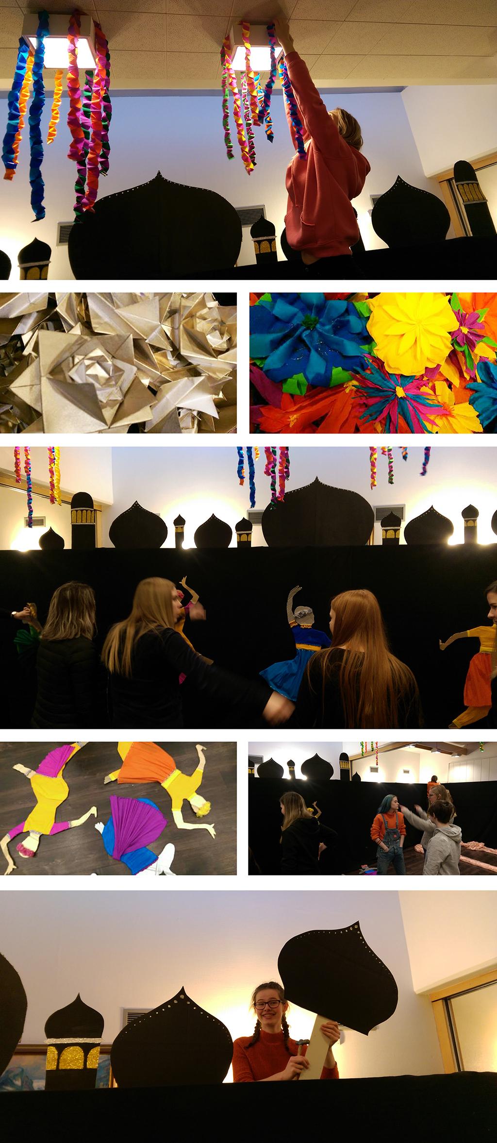 Elevar frå klasse 1KDA dekorerer eit rom i Førdehuset i \