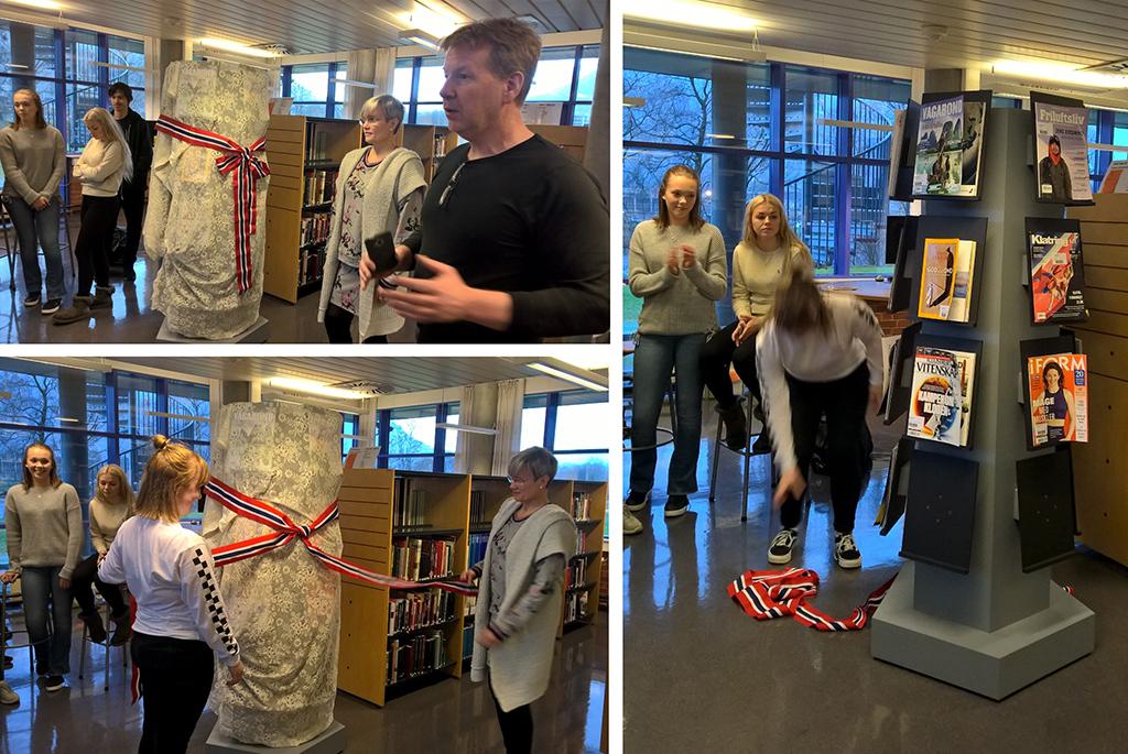 Avduking av ny tidsskriftshylle på biblioteket