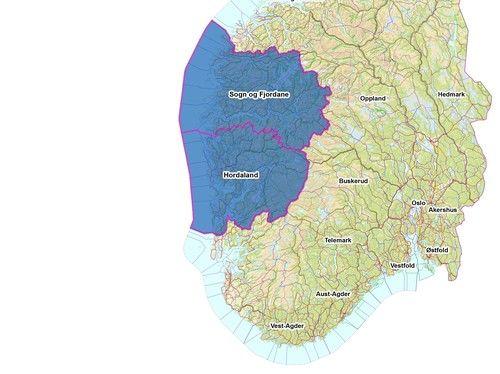 Kart over det geografiske området for Vestland fylkeskommune