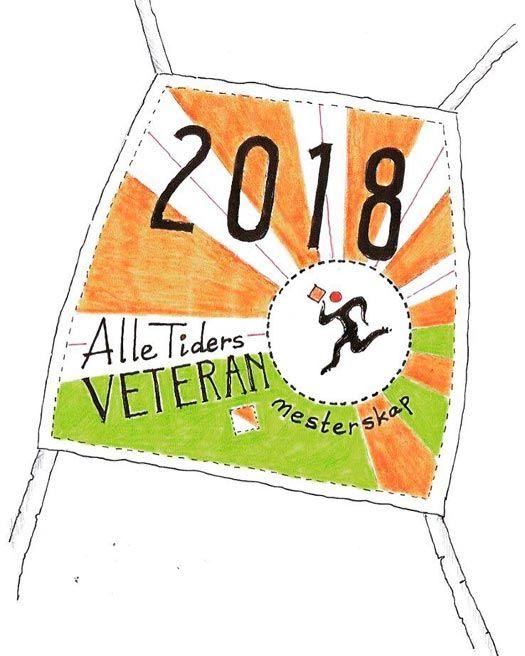 Startnummer i retrostil til Veteran-NM 2018. Arrangørillustrasjon.