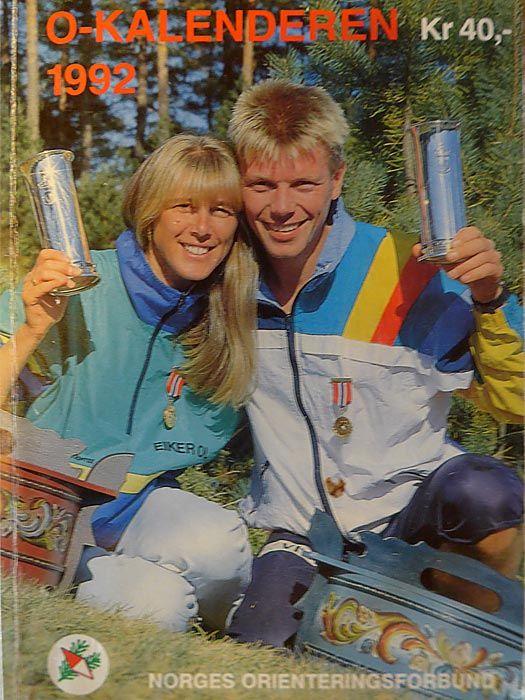 Faksimile av NOF-kalenderen fra 1992. Vi ser Anne Line Nydal og Petter Thoresen med hver sin kongepokal.