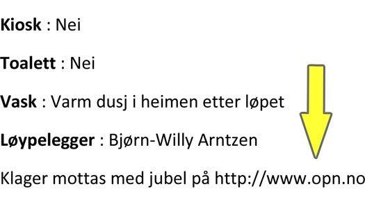 Utsnitt fra innbydelsen til 2-mila i regi av Asker Skiklubb. Gul pil lagt på av OPN.no.