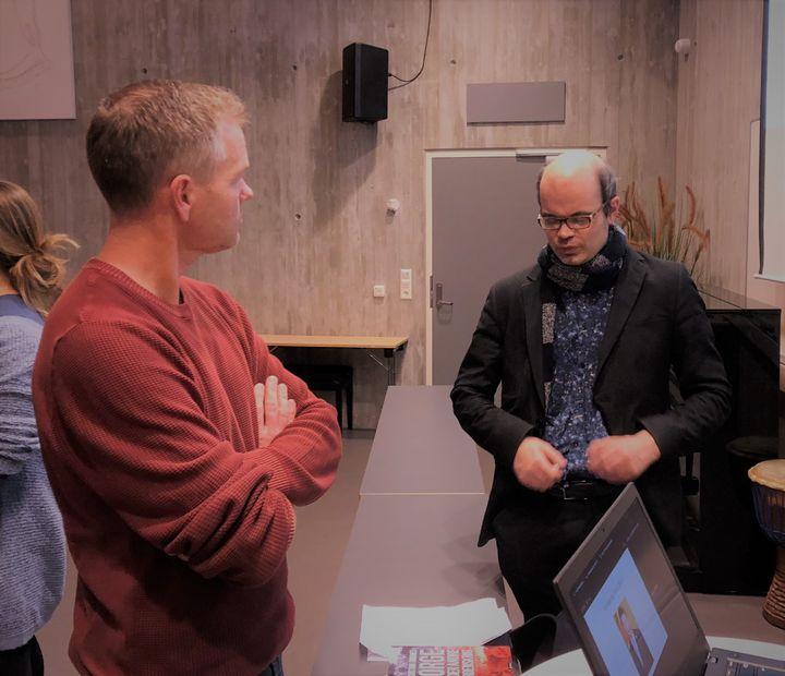 Endre Lunde og Hans Olav Lahlum   Foto: Maria Storevik