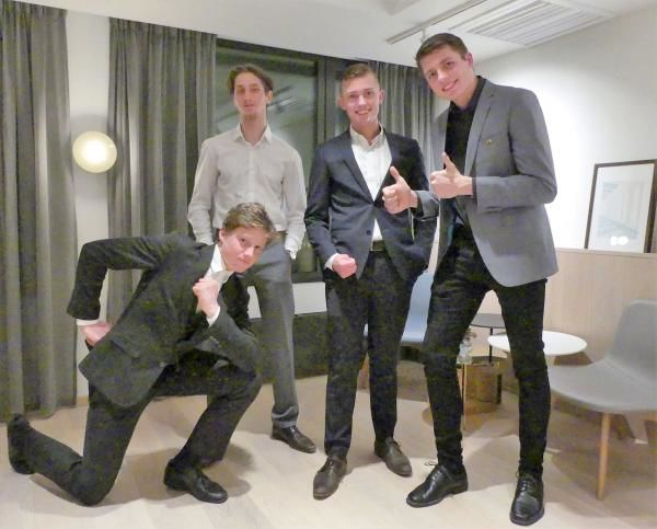 Årets lærlingar 2018   Årets lærlinger i bygg og anlegg, fra venstre Sondre Aasen, Nicklas Fjeldstad, Andreas Svoren Strand og Brage Skorve Haugland. (Foto: EBA Vestenfjelske).