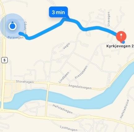 kart med vegen frå Øyrane til Skrivarløa