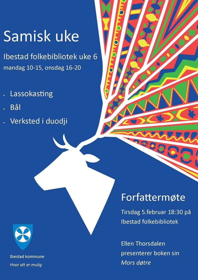 Plakat for Samisk uke 2019 på Ibestad folkebibliotek