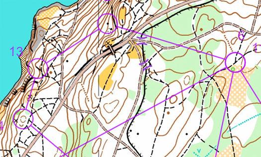 Kartutsnitt fra Gromløpet 2019 som gikk på Bygdøy i regi av Lillomarka OL.