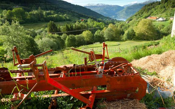 jorbruksreidskap ligg i graset på ein solfylt sommardag, bak ser vi utsikt til fjord og fjell og ein gard i det fjerne.