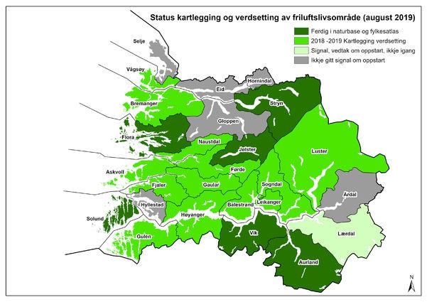 Status kartlegging av friluftslivområder i Sogn og Fjordane pr. august 2019