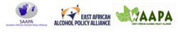 Logoes for the regional African Alcohol Policy Alliances