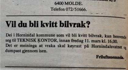 Notis satt inn i Fjordingen i 1977