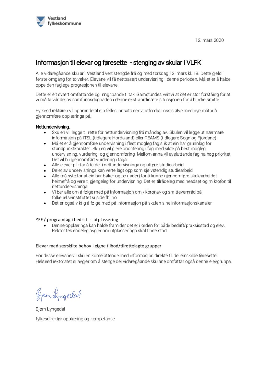 2020.03.12 - Informasjon elever og føresette - stenging av vgs i Vestland fylkeskommune.jpeg