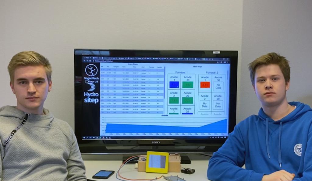 To elevar frå Sognatech sit framfor ein PC som viser måleresultata frå klakkstaven
