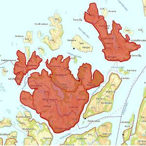 Forbudet gjelder i områder merket med rødt.