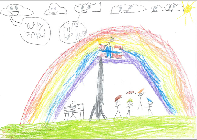 Barnetegning med regnbue og flagg