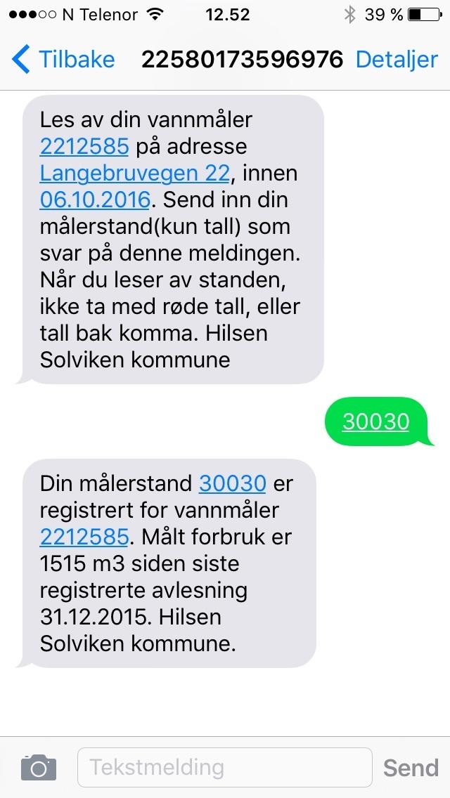 SMS vannmåleravlesing