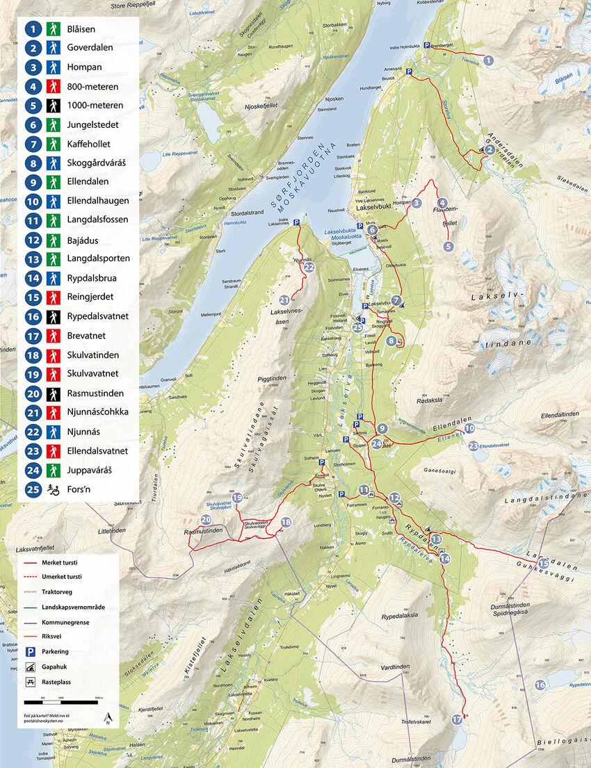 Kart over alle turløypene i Lakselvbukt.
