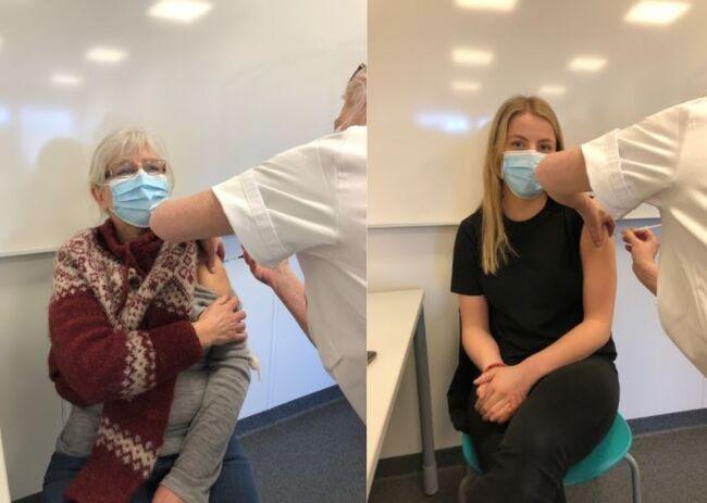 Marit Seland og Amalie Haugland er blant helsepersonellet som nå er vaksinert mot koronaviruset.