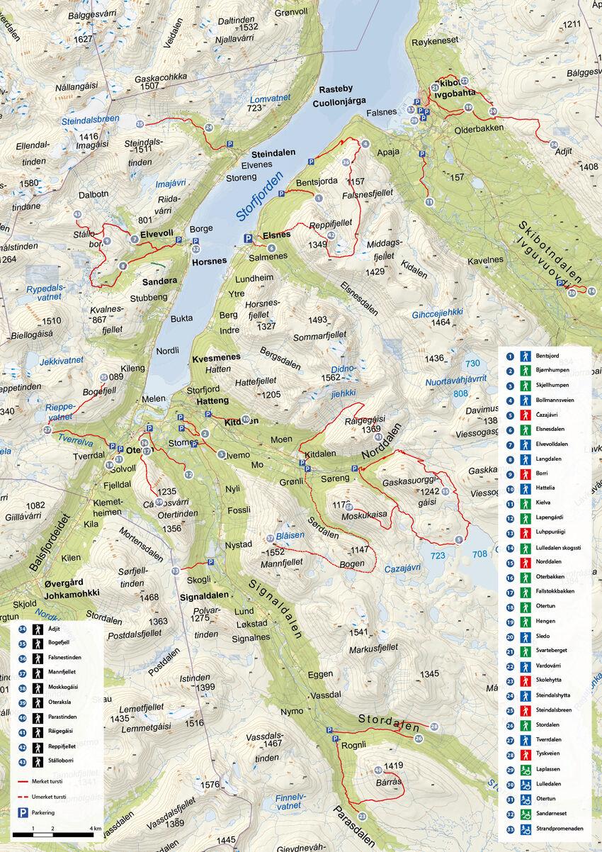 Kart over alle turløypene i Storfjord. Kartografi: Solveig Enoksen. Kartgrunnlag: Kartverket