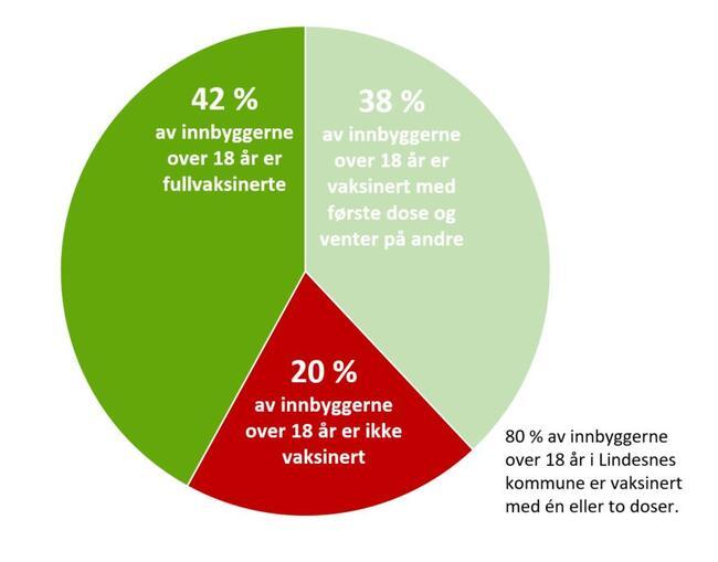 80 prosent er vaksinert: 80 prosent av innbyggerne over 18 år i Lindesnes kommune er 10. august vaksinert mot koronaviruset med minst en dose. 42 prosent av alle over 18 år er fullvaksinerte med to doser.