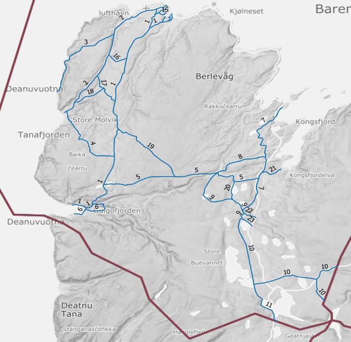 Vedlegg D2 - Snøskuterløyper i Berlevåg - Oversiktskart forstørret Berlevåg[1]