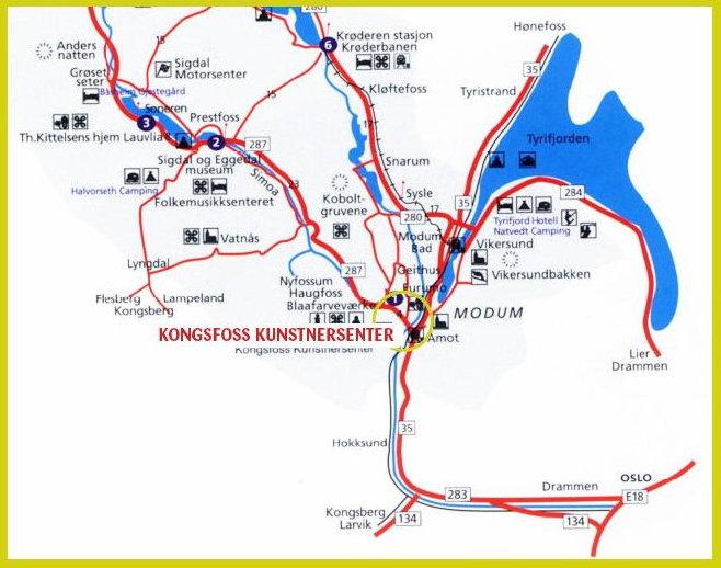 Kart som viser Kunstnerdalen og Kongsfoss Kunstnersenter. Klikk på bilde for stor versjon